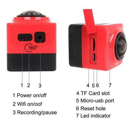 Kamera 360 derece Panorama aksiyon kamera  Wifi 1280*1024 28fps Portable Mini Camcorder Outdoor